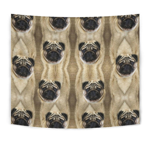 Amazing Pug Dogs Print Tapestry