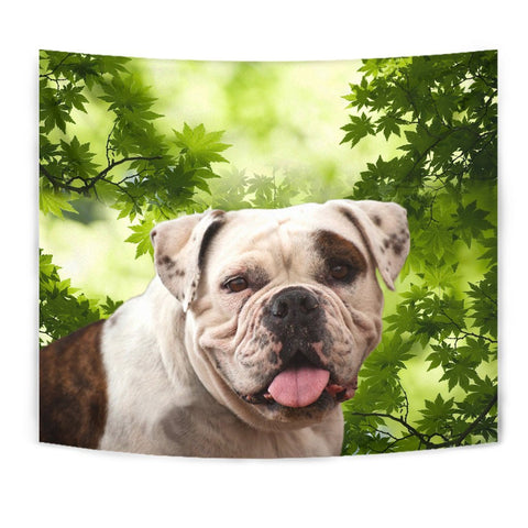 American Bulldog On Green Print Tapestry