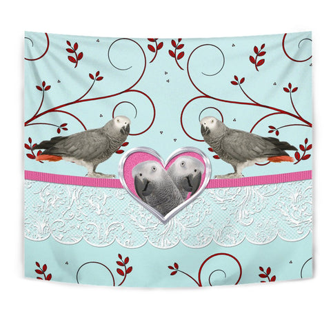 African grey Parrot Print Tapestry