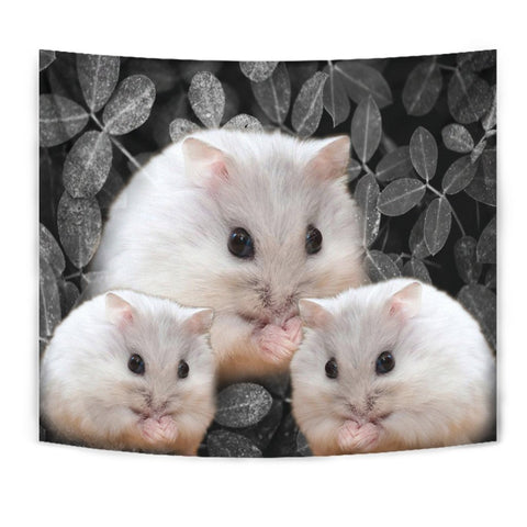 Chinese Hamster On Black Print Tapestry