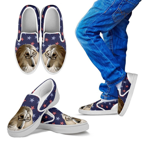 Afghan Hound Dog Print Slip Ons For KidsExpress Shipping