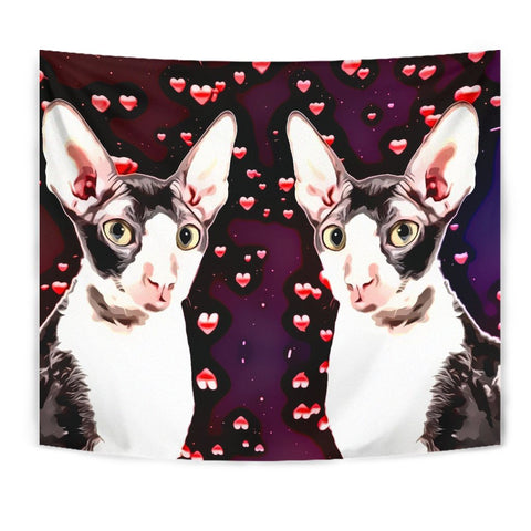 Cornish Rex Cat Love Print Tapestry