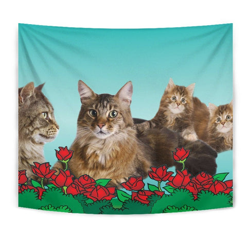 Amazing Maine Coon Cat Print Tapestry