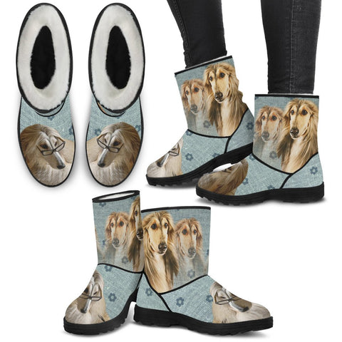 Afghan Hound Print Faux Fur Boots For Women