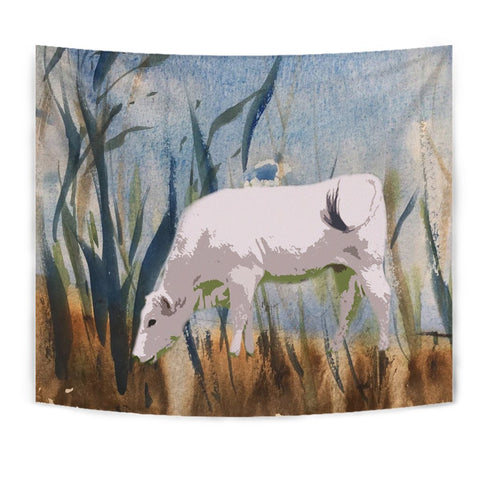 Chianina Cattle (Cow) Print Tapestry