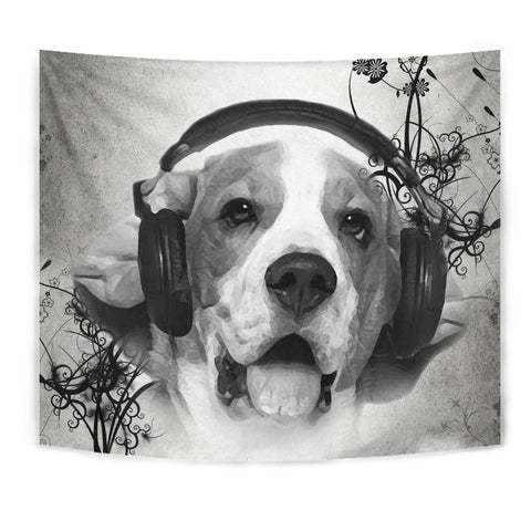 Beagle With Headphones Print Tapestry