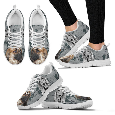 Afghan Hound Black White Dog Print Running Shoes For Women