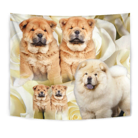 Chow Chow On Yellow Print Tapestry