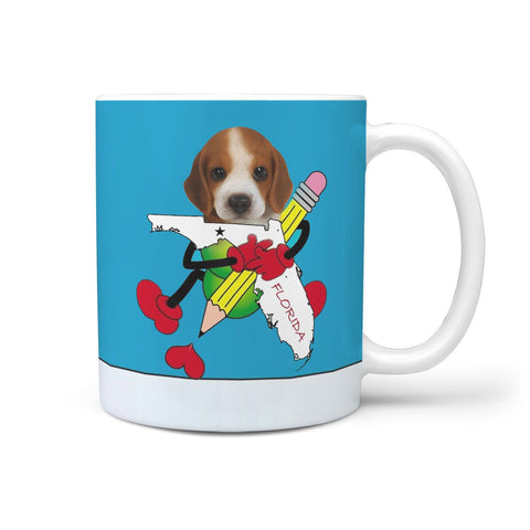Cute Beagle Loving Florida Print 360 White Mug