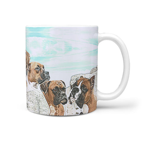 Boxer Dog Rushmore Mount Print 360 White Mug