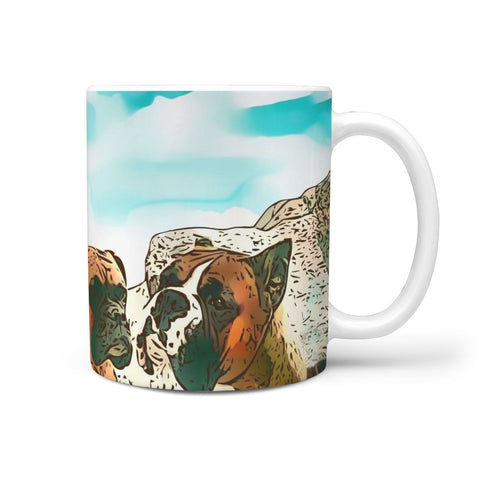 Amazing Boxer Dog Rushmore Mount Print 360 White Mug