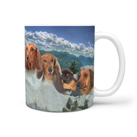 Lovely Dachshund Dog Mount Rushmore Print 360 Mug