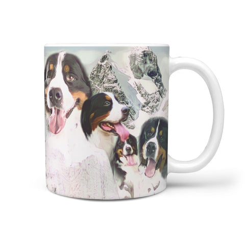 Bernese Mountain Dog Mount Rushmore Print 360 White Mug