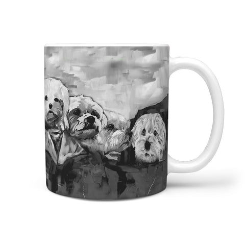 Maltese Dog Black&White Mount Rushmore Print 360 Mug