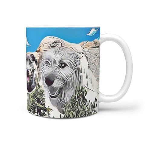Irish Wolfhound Mount Rushmore Print 360 White Mug