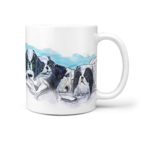 Japanese Chin Dog Art Mount Rushmore Print 360 White Mug