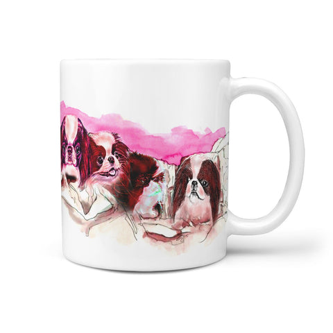 Japanese Chin Dog Pink Art Mount Rushmore Print 360 White Mug