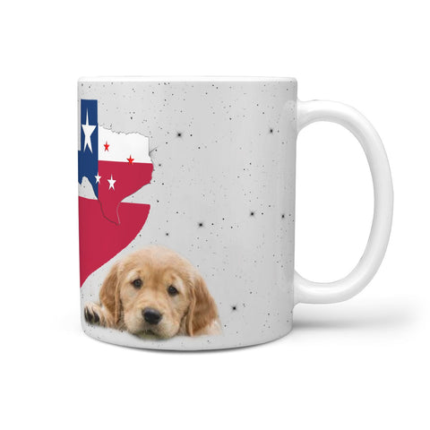 Cute Golden Retriever Heart Texas Print 360 White Mug