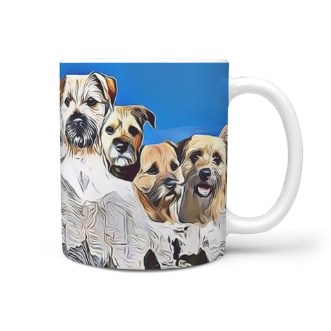 Border Terrier Mount Rushmore Print 360 White Mug