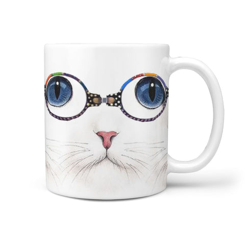 Cute Cat Print 360 White Mug