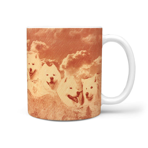 Samoyed Dog Vintage Art On Mount Rushmore Print 360 Mug