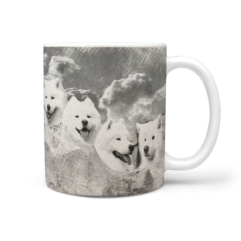 Samoyed Dog Sketch On Mount Rushmore Print 360 Mug