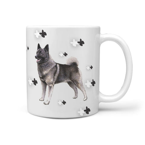 Norwegian Elkhound Dog Print 360 White Mug