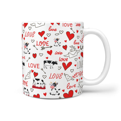 Cute Cow Love Print 360 White Mug