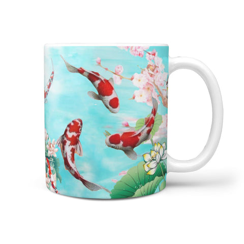 Koi Fish Print 360 White Mug