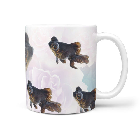 Black Moor Goldfish Print 360 White Mug
