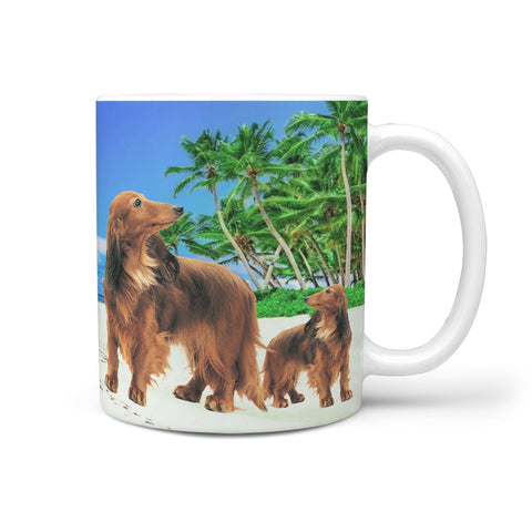 Dachshund Dog On Beach Print 360 Mug