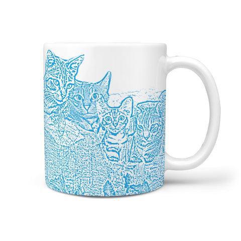 Sokoke Cat Mount Rushmore Print 360 White Mug