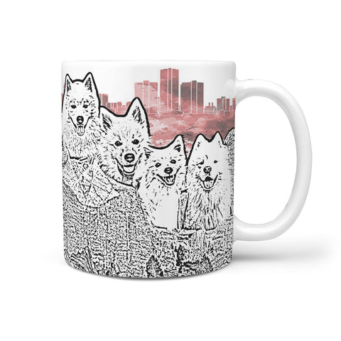 American Eskimo Dog Mount Rushmore Art Print 360 White Mug
