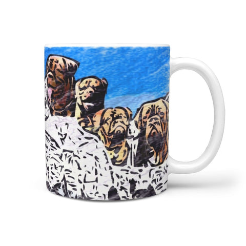 Bordeaux Mastiff Mount Rushmore Print 360 White Mug