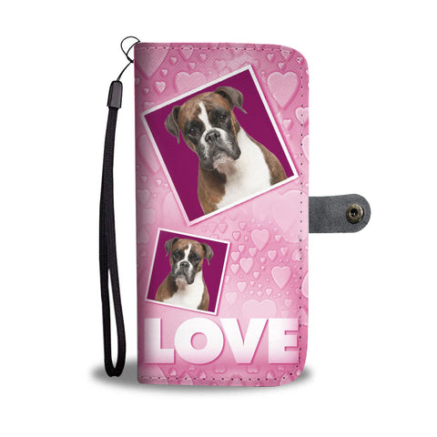Boxer Dog with Love Print Wallet Case