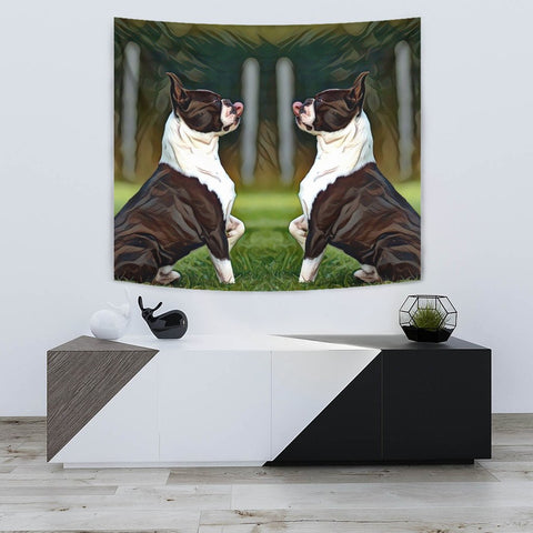 Amazing Boston Terrier Dog Art Print Tapestry