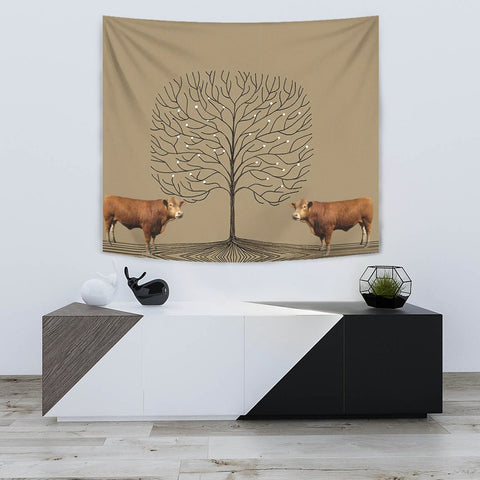 Amazing Gelbvieh Cattle (Cow) Print Tapestry
