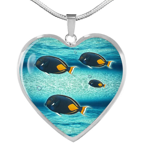 Achilles Tang Fish Print Heart Charm Necklace