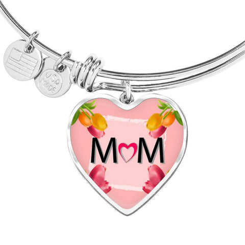 """MOM"" Print Heart Pendant Luxury Bangle"