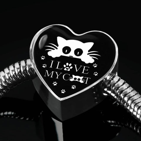 """ I Love My Cat"" Print Heart Charm Steel Bracelet"
