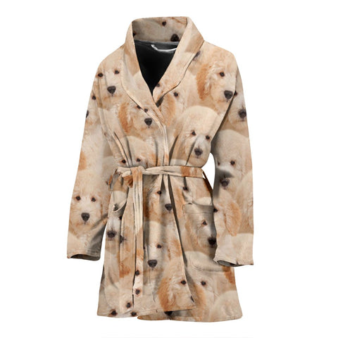 Goldendoodle In Lots Print Women's Bath Robe
