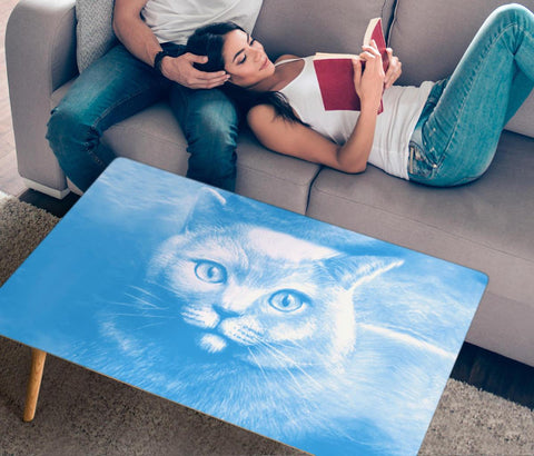 Amazing Russian Blue Cat Print Rectangular Coffee Table