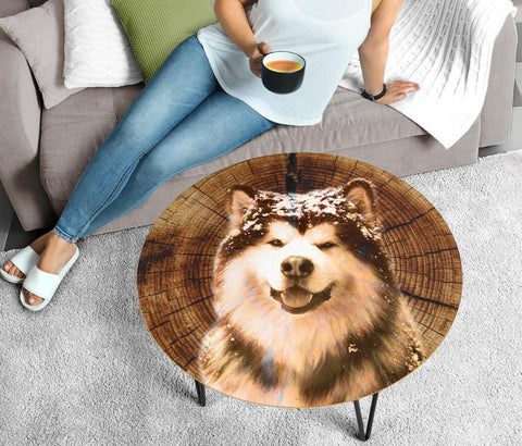 Alaskan Malamute Print Circular Coffee Table