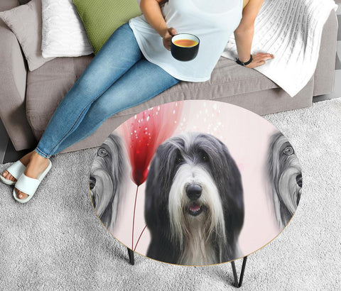 Amazing Bearded Collie Print Circular Coffee Table
