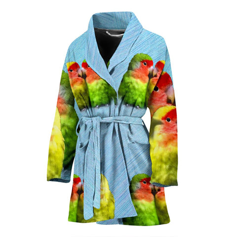 Peach Faced (Rosy Faced) Love Bird Print Women's Bath Robe