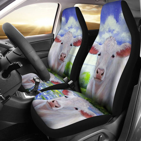 Charolais Cattle (Cow) Print Car Seat Covers