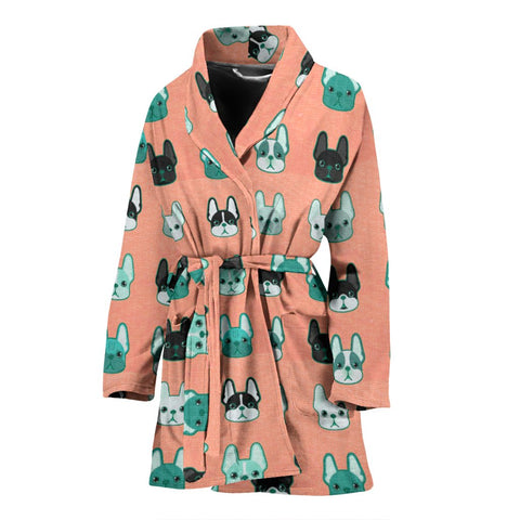 Cute French Bulldog Pattern Print Women's Bath Robe