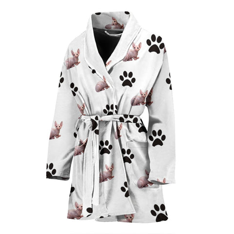 Sphynx Cat Patterns Print Women's Bath Robe