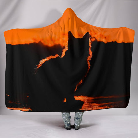 Amazing Cat Shadow Print Hooded Blanket