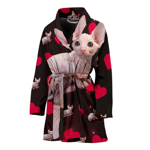 Sphynx Cat Print Women's Bath Robe